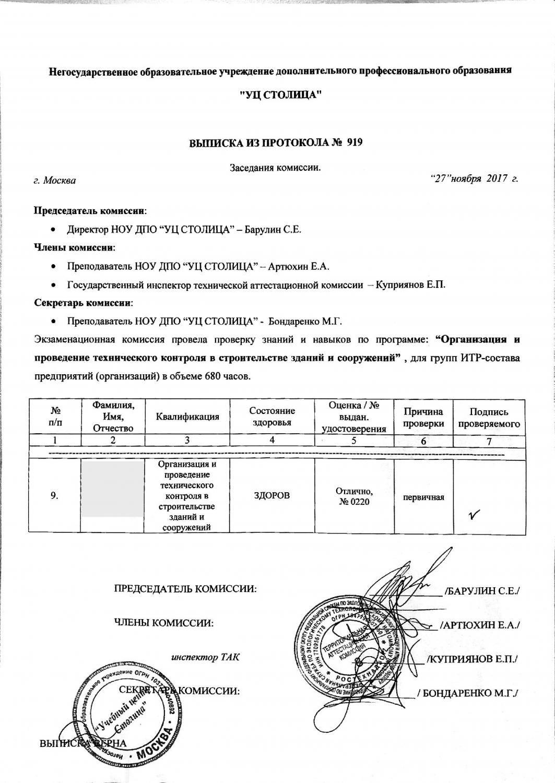 Выписка из протокола №919